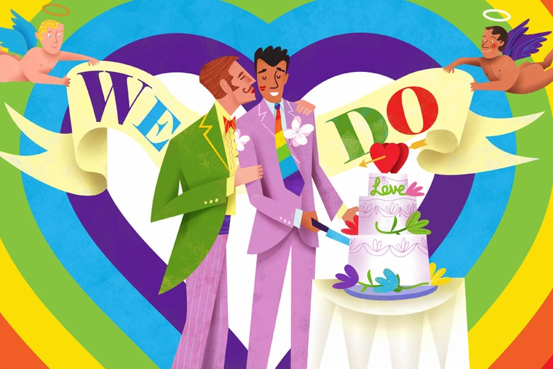 illustration of male gay marriage