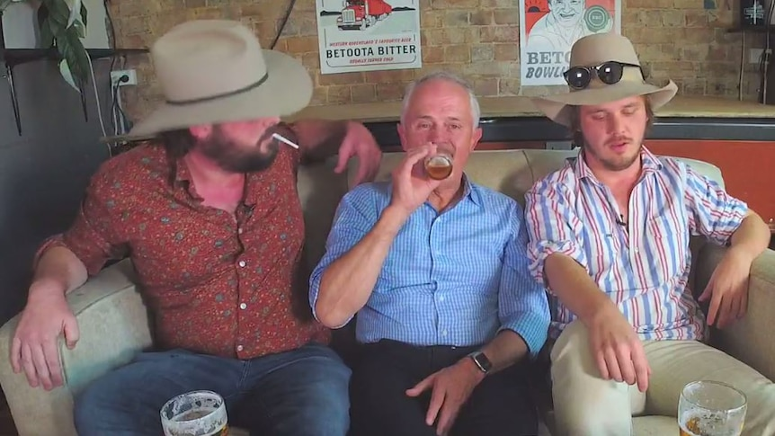 Malcolm Turnbull drinks beer during an interview with the Betoota Advocate.