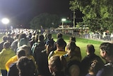 A long line of people waiting for buses after the Commonwealth Games opening ceremony shortly after midnight on April 5, 2018.