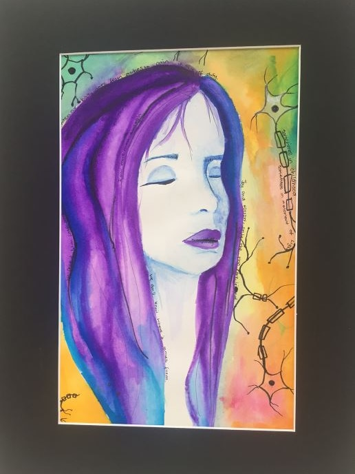 A colourful painting of a woman with her eyes closed