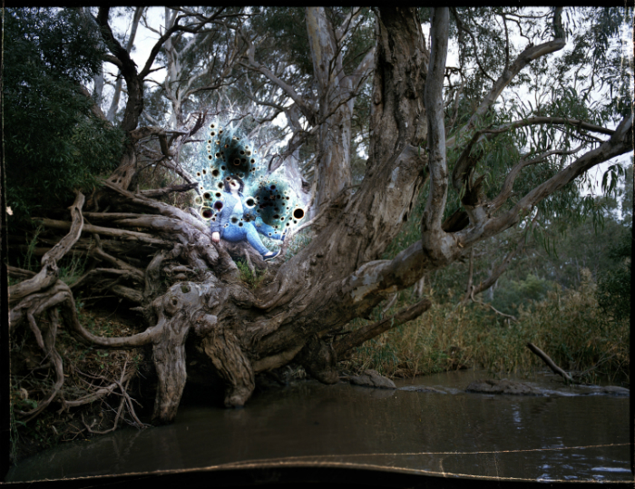 A woman sitting on a large tree trunk on the edge of a riverbank.