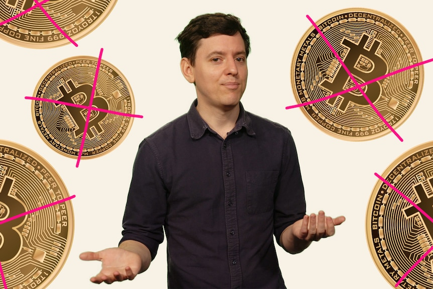 Pat Wright stands in front of a background with bitcoins.