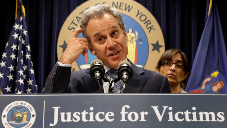 New York Attorney General Eric Schneiderman speaks during a news conference.