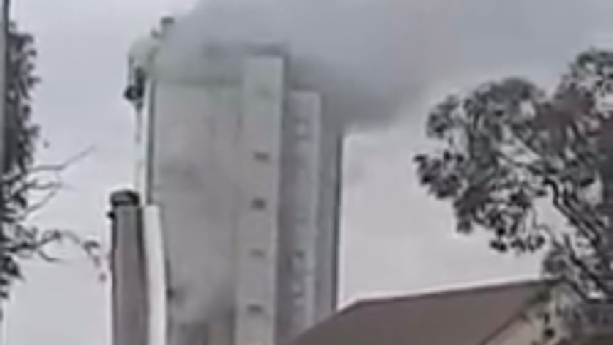 Smoke billows from what looks like a mid-sized office building, but is actually a smelter furnace.