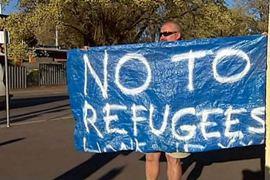 Refugee protester