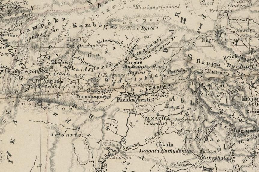A map of the Peshawar region where the Bakhshali manuscript was found.