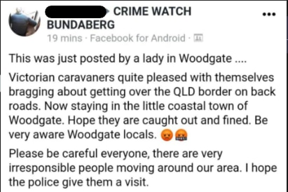A facebook post reporting victorian caravanners had crossed the border