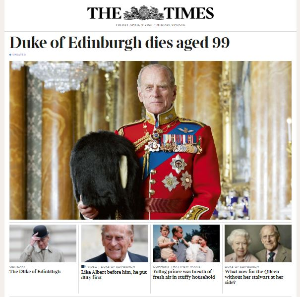 The Times website after the death of Prince Philip.