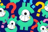 Illustration of smiley dollar signs and question marks to represent financial literacy quiz