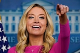 White House press secretary Kayleigh McEnany speaks during a briefing at the White House in Washington