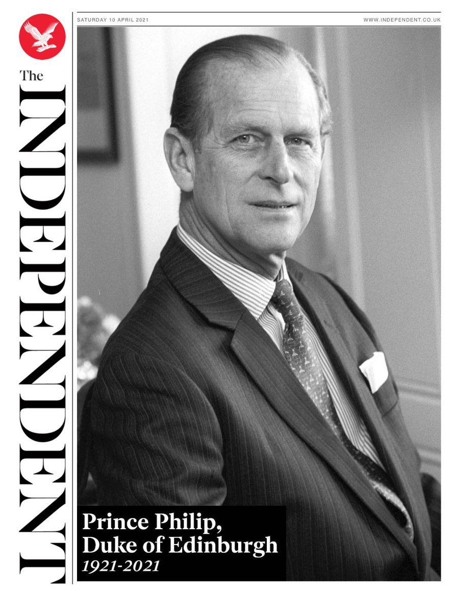 The front page of the UK newspaper The Independent the day after the death of Prince Philip.