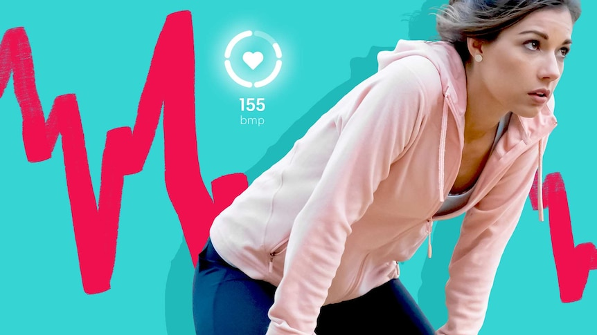 Young woman recovering from a workout. Heart rate graph and heart icon with 155 bmp in the background.