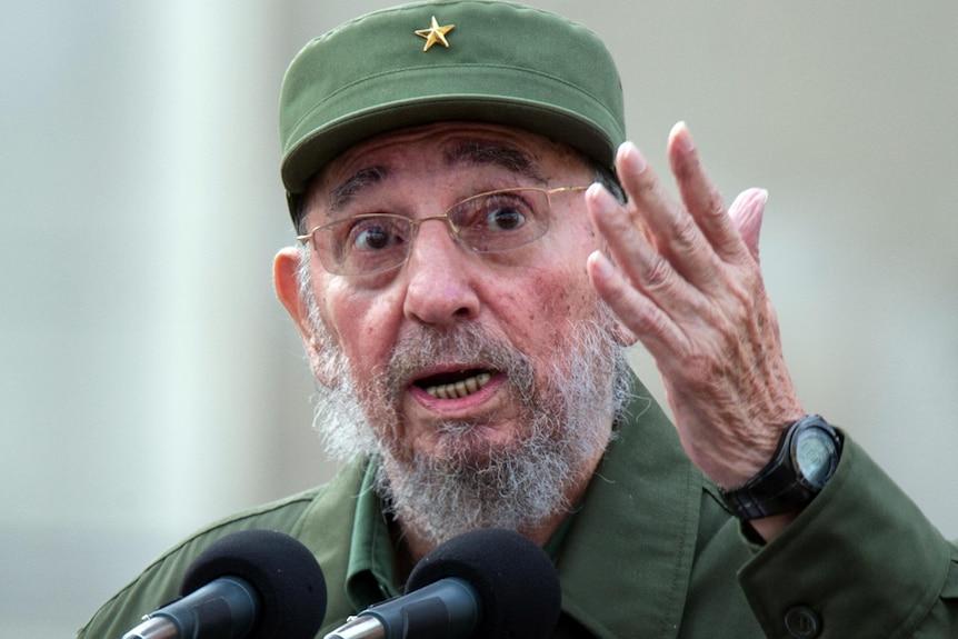 Fidel Castro delivers a speech.