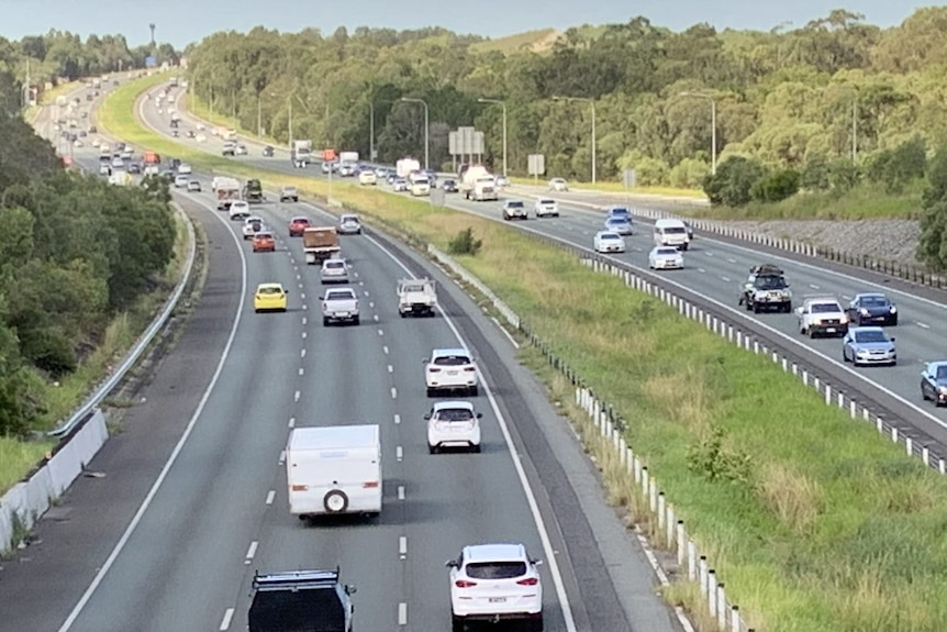 An aerial view of cars on a highway