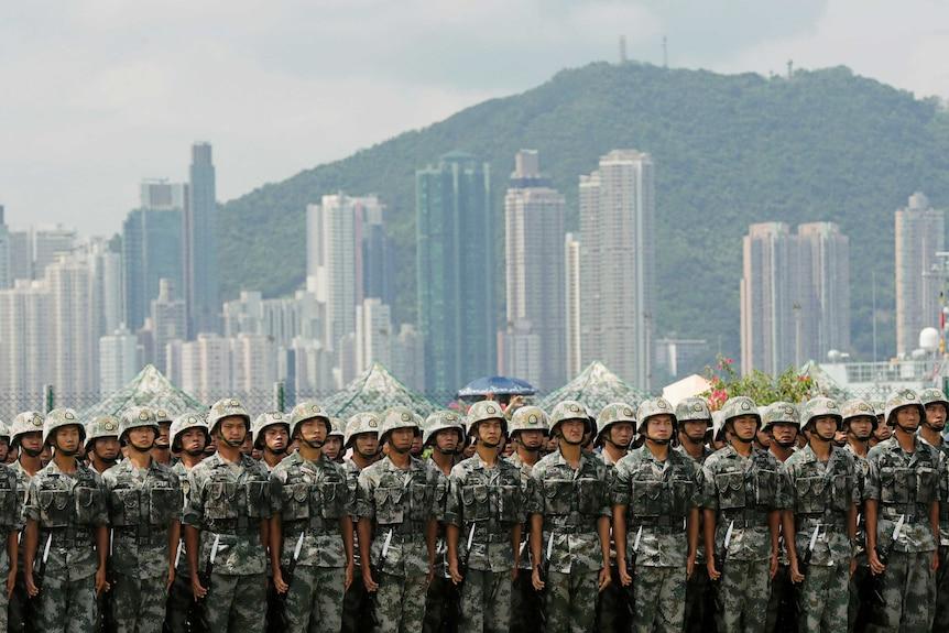 PLA troops in Hong Kong