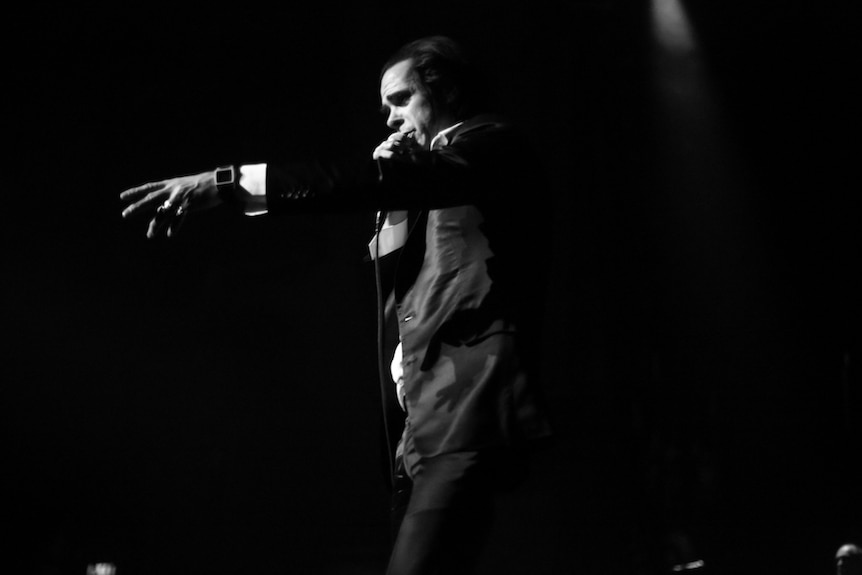 Nick Cave on stage in Melbourne