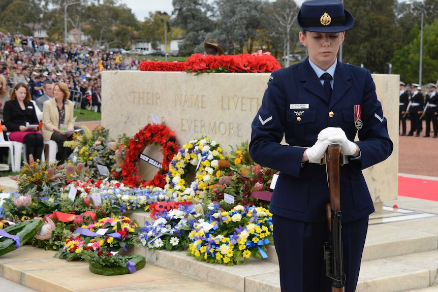 Anzac Day ceremony at the Australian War Memorial in Canberra.