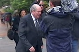Catholic priest Brian Lucas arrives at Newcastle abuse inquiry