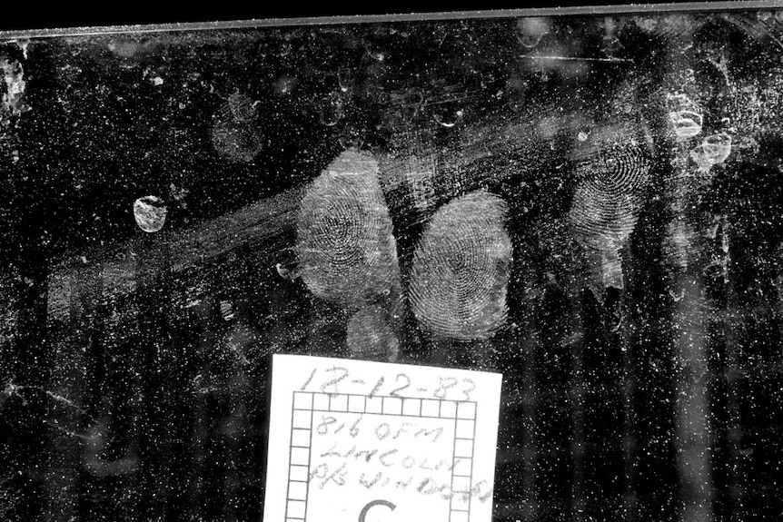 Black and white image of the fingerprints of convicted murderer Troy O'Meara supplied by the Queensland police.