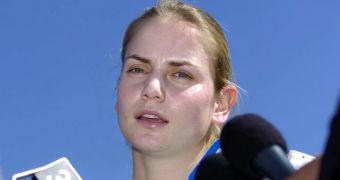 Jelena Dokic speaks to media in 2005.