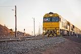A train on railway tracks