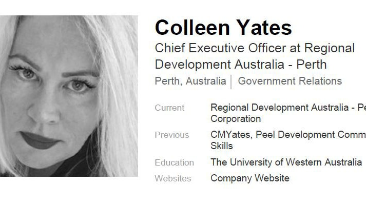 The profile lists Ms Yates' education as at the University of Western Australia.