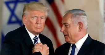 US President Donald Trump shakes hands with Israel's Benjamin Netanyahu