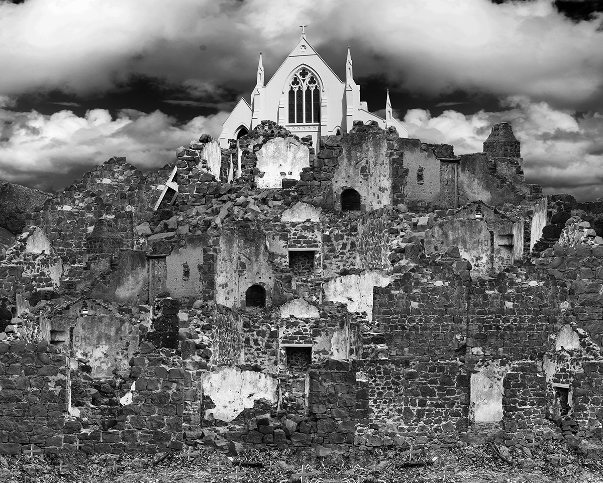 Black and white photographic artwork of layered churches and ruins by artist Hayley Millar-Baker.