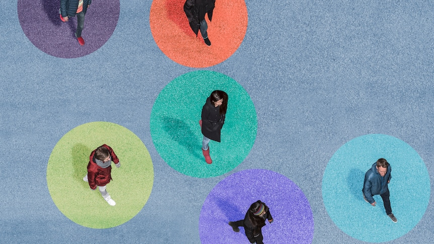 Aerial image of six people walking, each in inside an illustrated coloured circle.