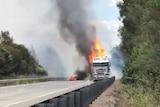 Truck on fire.