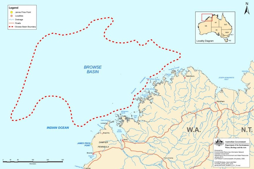 A map showing the location of Browse Basin off the WA coast.