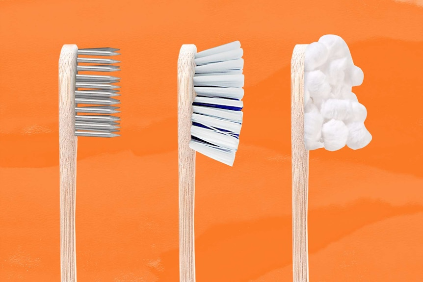 Three brushes each with a humorous look at bristle strength: hard are nails, medium is kitchen scrubber and soft is cotton wool.