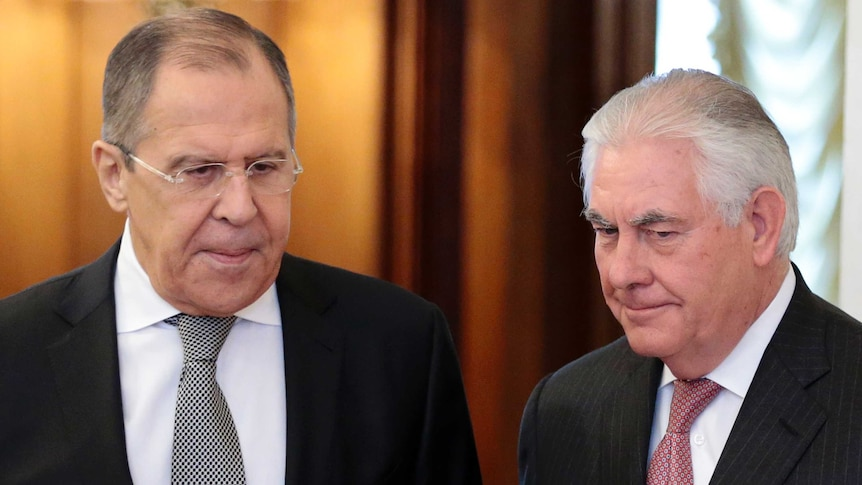 """Rex Tillerson (R) said relations were at """"a low point"""" after meeting Sergei Lavrov (Photo: AP)"""