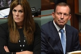 Peta Credlin and Tony Abbott look serious in side-by-side composite image