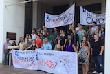 Protesters demanding more access to RU486 in the NT gather outside Parliament