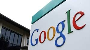 An image of the Google logo on the side of a building.