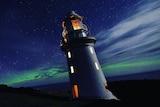 Maatsuyker Island lighthouse and Aurora Australis.