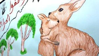 Two cartoon kangaroos hug.