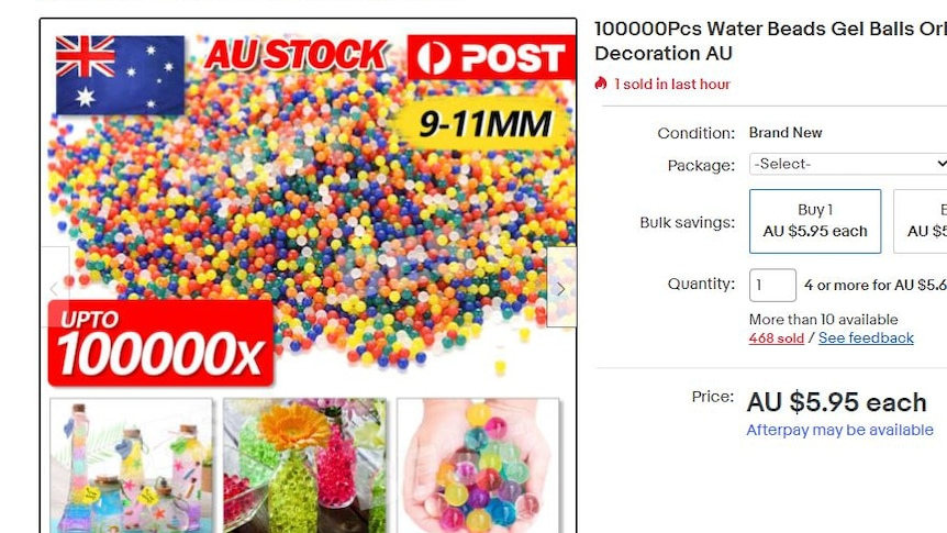 An online shopping page showing 100,000 water beads for sale.