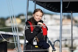 Climate change activist Greta Thunberg arrives aboard the yacht La Vagabonde at Santo Amaro port in Lisbon, Portugal.