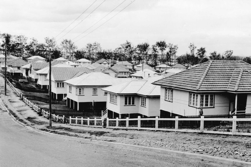 A black and white photo of post-war housing commission homes in a Stafford street.
