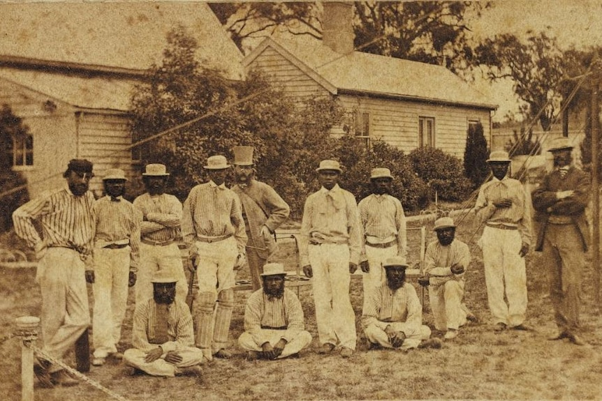 A black and white image of the First Aboriginal XI.