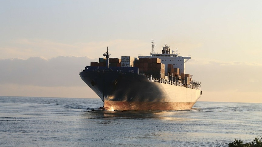 A containership at sea
