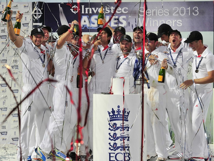 Alastair Cook kisses a replica of the Ashes Urn after the drawn fifth Ashes Test.