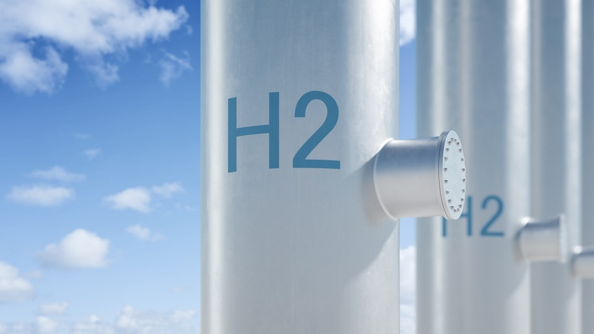 Hydrogen pipeline with blue sky background