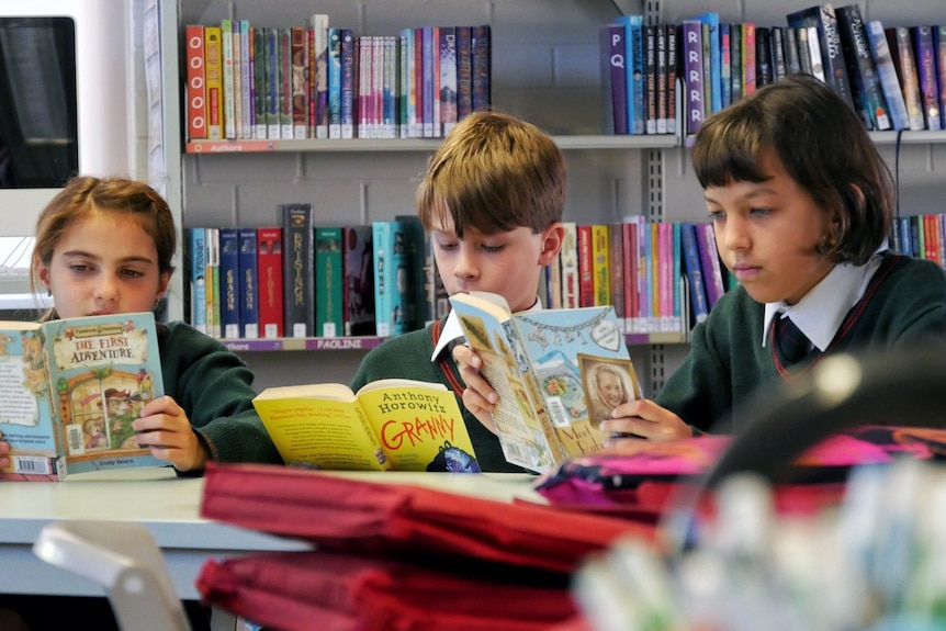Three students sitting around a table in a school library reading books.