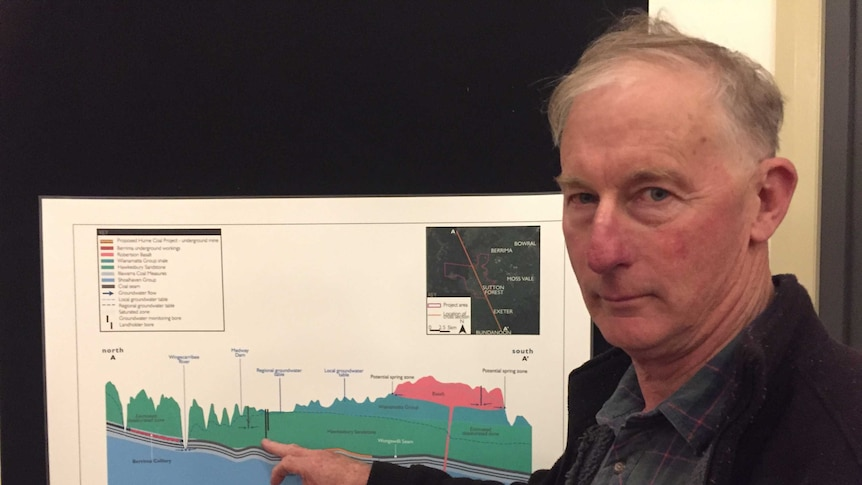 Berrima berry farmer Bruce Robertson with an EIS for the Hume Coal project in the NSW southern highlands.