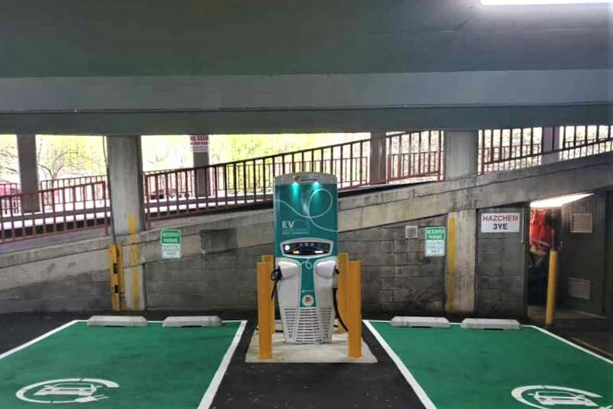 Charging station for electric car.
