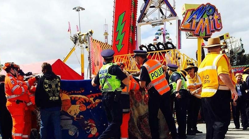 Police cordoned off the accident scene at the Royal Adelaide Show.