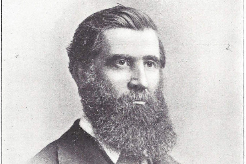 A black-and-white hand drawn picture of Dr James Stewart, Ballarat's chief vaccinator in the 1850s and 60s